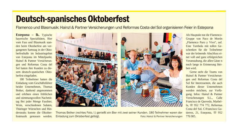 Am Samstag, den 26. Oktober 2019 veranstaltete die Versicherungsagentur Hainzl & Partner ein stimmungsvolles Deutsch-Spanisches Oktoberfest in Estepona